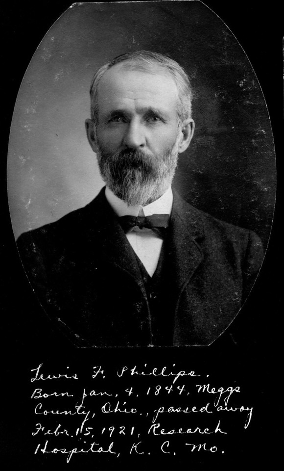 Caption reads:  Lewis F. Phillips.  Born Jan. 4, 1844, Meggs County, Ohio, passed away Febr. 15, 1921, Research Hospital, K.C. Mo.