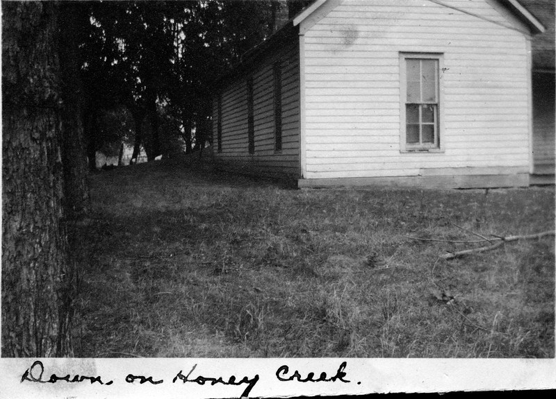 Caption reads:  Down on Honey Creek.