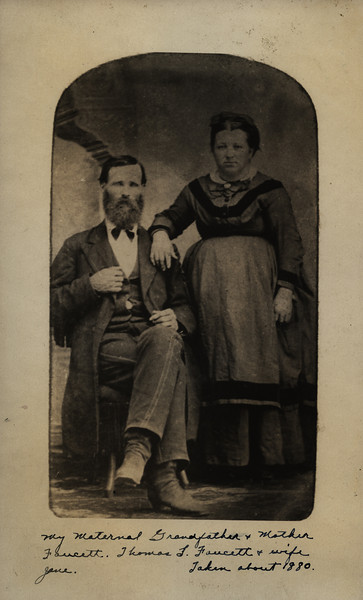 Caption reads:  My Maternal Grandfather & Mother Faucett.  Thomas L. Faucett & wife Jane.  Taken about 1880.