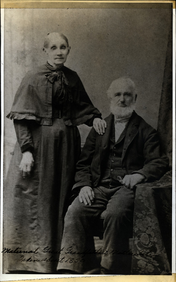 Caption reads:  Maternal Great Grandfather & Mother Tate. Taken about 1850.