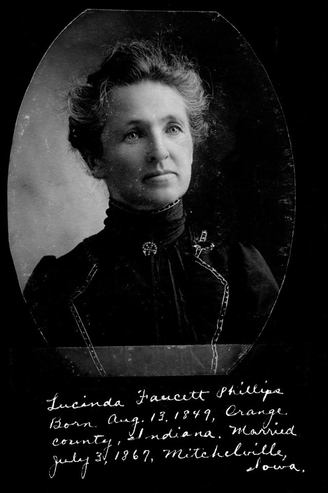 Caption reads:  Lucinda Faucett Phillips.  Born Aug. 13, 1849. Orange county, Indiana.  Married July 3, 1867, Mitchelville, Iowa.