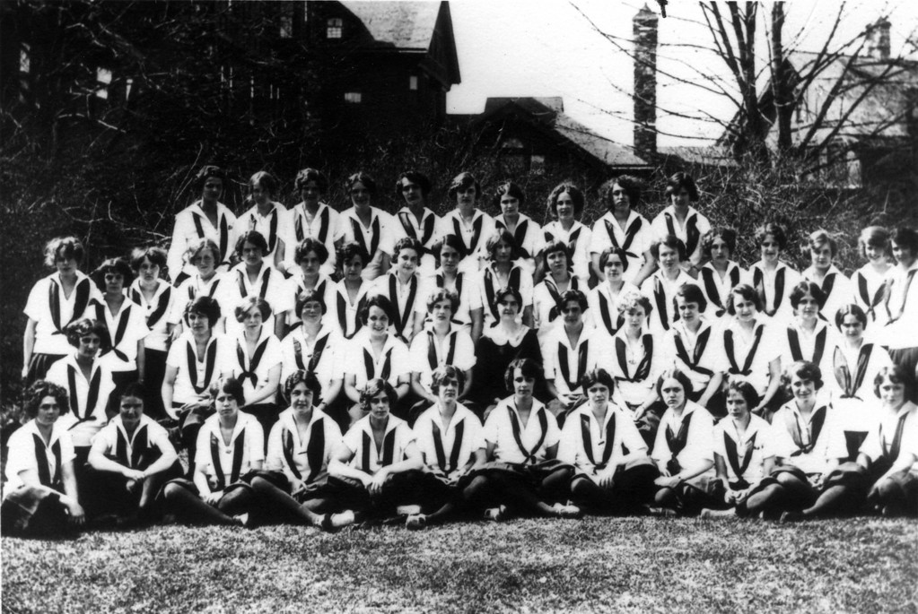 On photo is written:  5th Form 1923.<br /> <br /> 2nd row from top, 6th girl from right looks like Anne Katherine Innes (Phillips). Probably Miss Bennett School for Girls in Millbrook, New York.