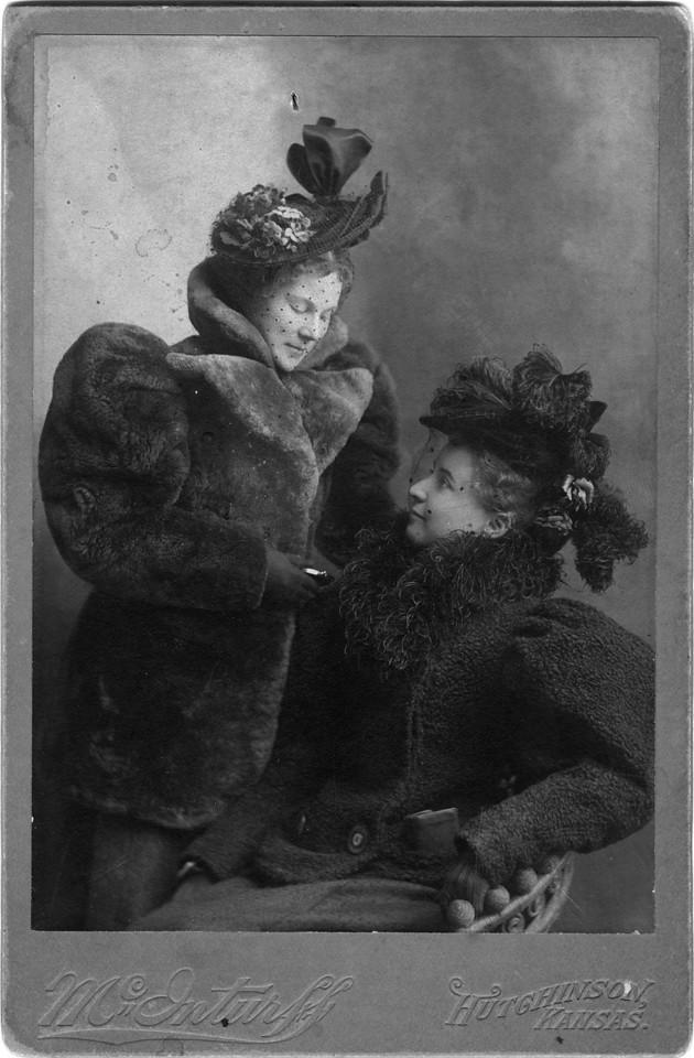 ca. 1890s.  Left to Right:  Margaret May Brown (Innes) (1874-1946), Anna Ellizabeth Brown (Woods) (1876-1951).  Photo:  McInturff, Hutchinson, Kansas.