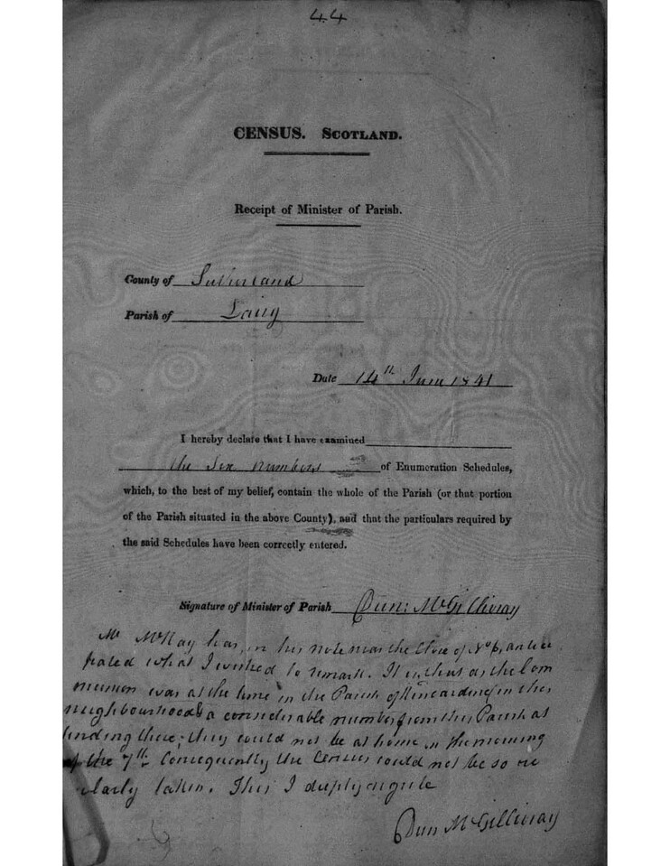 1841 - Census Lairg - Explanation of District page 1