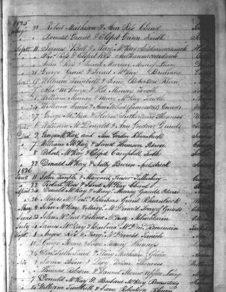1825 - Lairg Parish Register - Baptism for William Innes, son of William Innes & Anne McLeod