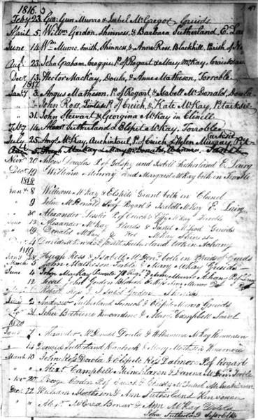1816-20 - Lairg Parish Register - Marriages