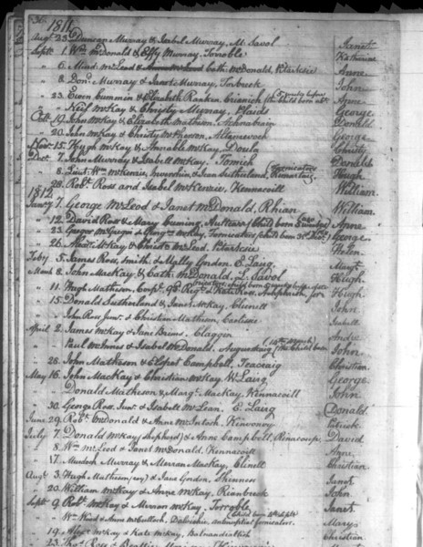 1811 - Lairg Parish Register - Baptism for Katherine McDonald, daughter of William McDonald and Effy Murray - not Donald/Daniel's mother