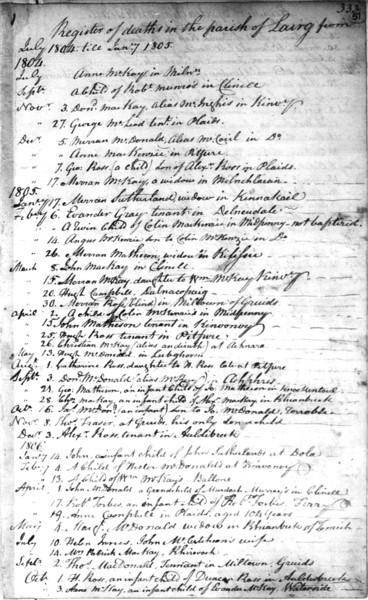 1806 - Lairg Parish Register - Death of Helen Innes