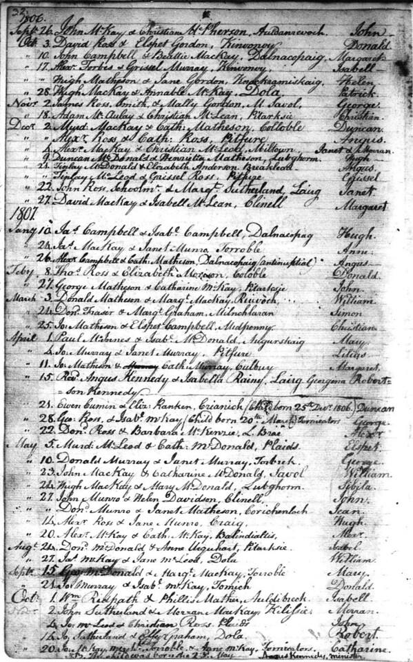 1807 - Lairg Parish Register - Baptisms