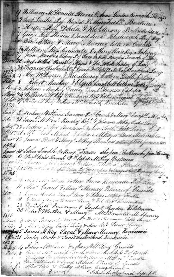 1821-28 - Lairg Parish Register - Marriages