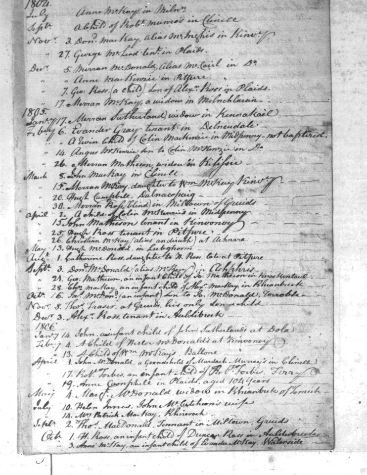 1805 - Lairg Parish Register - Death of Helen Innes