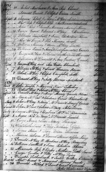 1825-26 - Lairg Parish Register - Baptisms