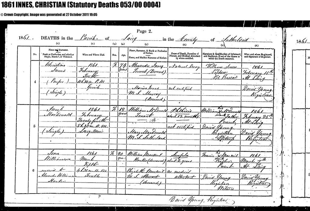 1861 - SR for Lairg - Death of Christian Innes, daughter of Alexander Innes & Marion Murray