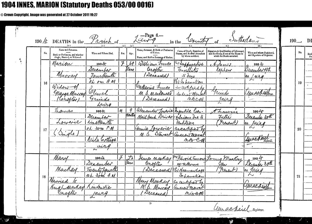 1904 - SR for Lairg - Death  of Marion Innes, daughter of William Innes & Ket McDonald