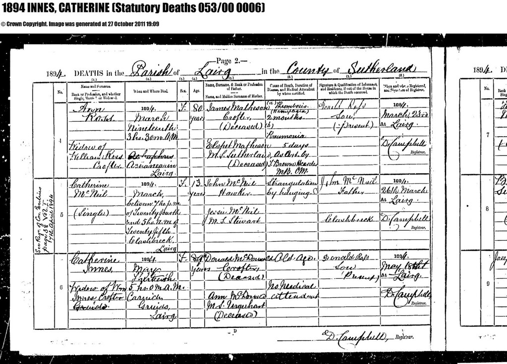 1894 - SR for Lairg - Death of Catherine Innes, wife of William Innes