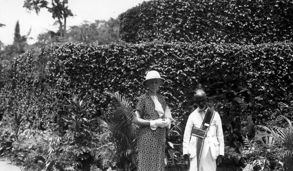 "February 22, 1937.  Nora ""Miss Nodie"" Phillips.  Handwritten on back:  Botanical Garden 4 miles from Kandy Ceylon 2/22 - Finest in the world more variety of plants trees and shrubs."