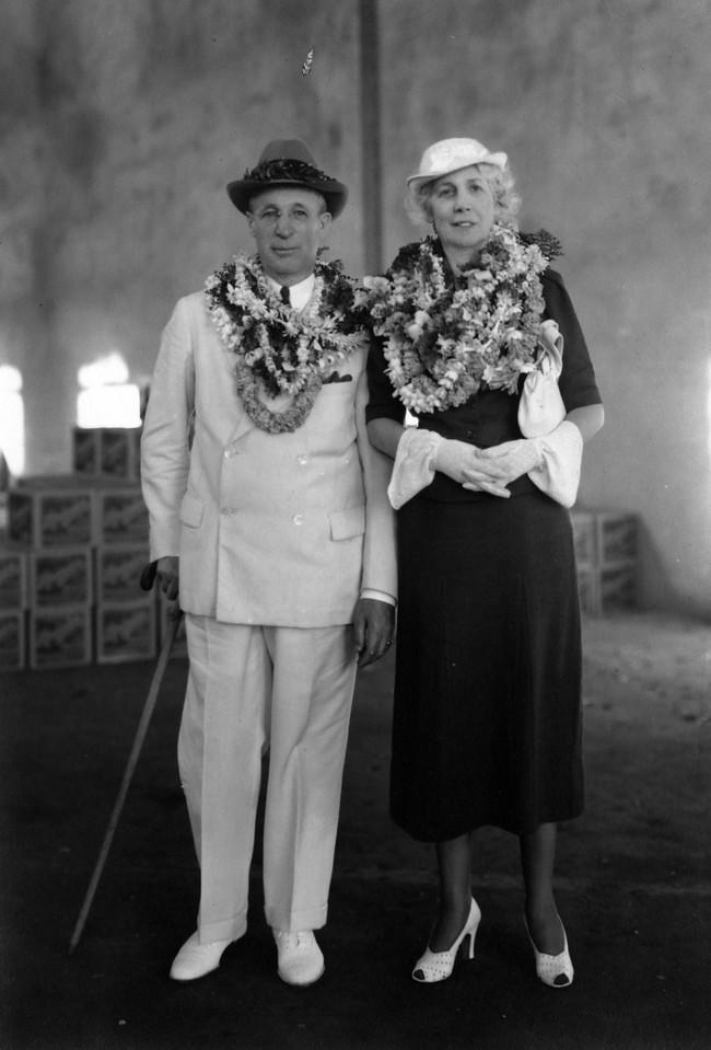 1937.  Lee Eldas Phillips and Nora Phillips.  Printed on back:  Luke Photo Studio, 1240 Nuuanu St., Honolulu, Hawaii.