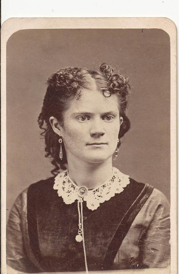 """Written on back of photo:  """"Anna McKibbin Brown at the time of her marriage"""" (to Charles William Brown)."""