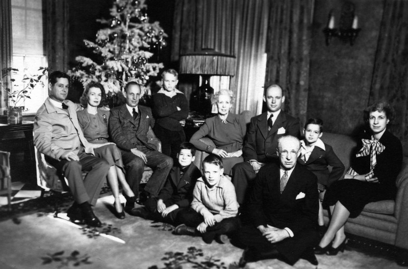 "Christmas 1941.  From Left to Right:  John ""Twink"" Starr, Anne Katherine Innes Phillips, Phil Phillips, Innes Phillips, Lenora ""Miss Nodie"" Carr Phillips, Lee Eldas Phillips Jr., James Lee Starr, Martha Jane Phillips Starr;  seated left to right:  John Philip Starr, Lee Eldas Phillips III, Lee Eldas Phillips."