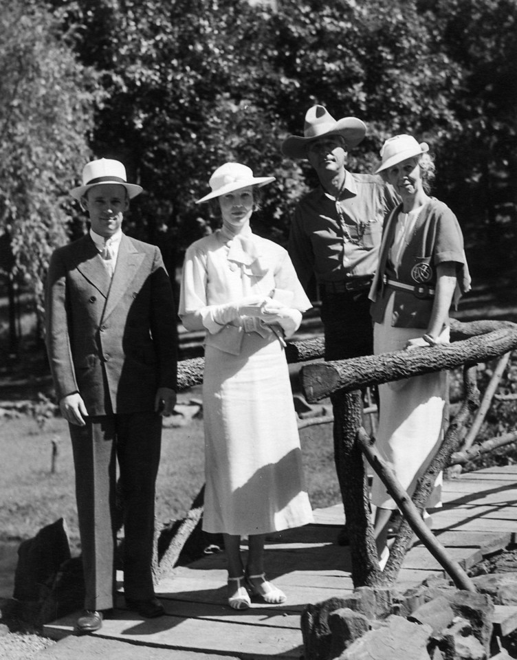 """June, 1935 at Woolaroc Ranch (per back of photo).  From Left to Right:  Lee Phillips Jr., """"Pink"""" (Anne Katherine Innes Phillips), Unknown Man, """"Miss Nodie"""" (Lenora Carr Phillips)."""