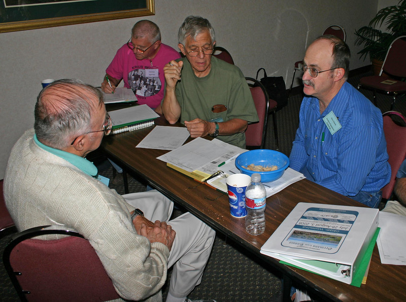 Henry Schmick of Sheridan, Wyoming (left) joins Dennis and Steve in the conversation.  That's Dick Kraus from Leverett, Massachusetts, making notes in the background.