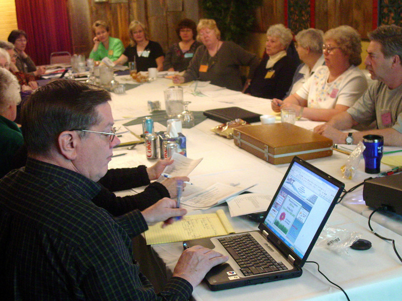 Co-chairman Al Feist makes notes on his computer during the April 2008 planning meeting.<br /> <br /> Al and Dorothy Feist -- from Hebron, North Dakota -- are among many couples who are dedicating much time and energy to the Germans from Russia convention next summer.