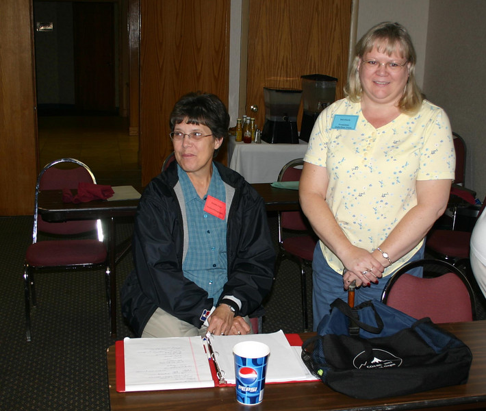 Dorothy Feist of Hebron, North Dakota (left) and Deb Eberle of Gillette, Wyoming, are members of the overall planning committee.  Dorothy is working with both the Photography and Kuchen committees.  Deb is working with Special Promotions, Door Prizes, and the Quilt Raffle.