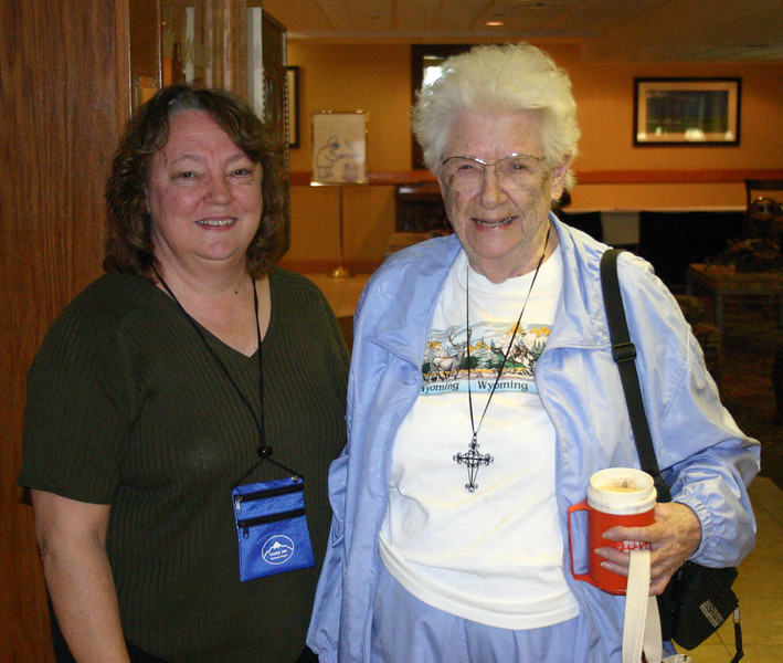 "There are many German-Russians across Wyoming, and we expect to see many of them in Casper next summer.<br /> <br /> Convention co-chair Patti Sellenrick (left) was delighted to see Evelyn Lovell of Riverton at our September planning meeting in Casper.  <br /> <br /> Muriel Kraus says ""if it weren't for Evelyn Lovell, this (quilt) probably would not have happened.  Evelyn is the inspiration for Germans from Russia in our area.  Both Muriel and Evelyn live in Riverton."