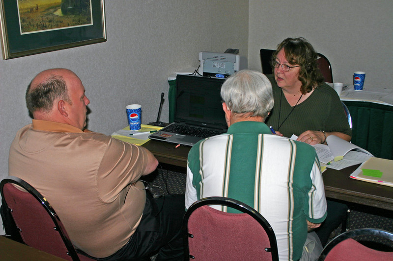Workshops will be at the heart of the convention.  Here, Dave Kilwein of Aberdeen, Washington, and Ken Koehler of Arvada, Colorado, chat with convention co-chair Patti Sellenrick.