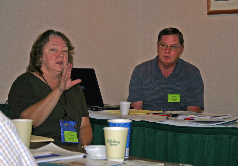 Our fearless leaders for the convention!  That's Patti Sellenrick of Sheridan, Wyoming (AHSGR) and Al Feist of Hebron, North Dakota (GRHS) presiding over the planning meeting.