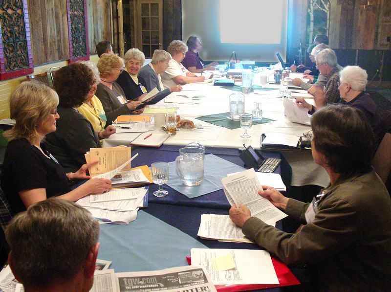 The April 2008 meeting of the Planning Committee in Casper, Wyoming, was likely the last comprehensive gathering prior to the convention this summer.<br /> <br /> These sessions have had full agendas, and many members came great distances to contribute their time and energy to helping make the Casper convention a success.<br /> <br /> Some 22 volunteer committee members attended this meeting.<br /> <br /> As you have occasion to visit with them, you may want to let them know you appreciate their good work!