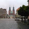 Gniezno town square, cathedral in background