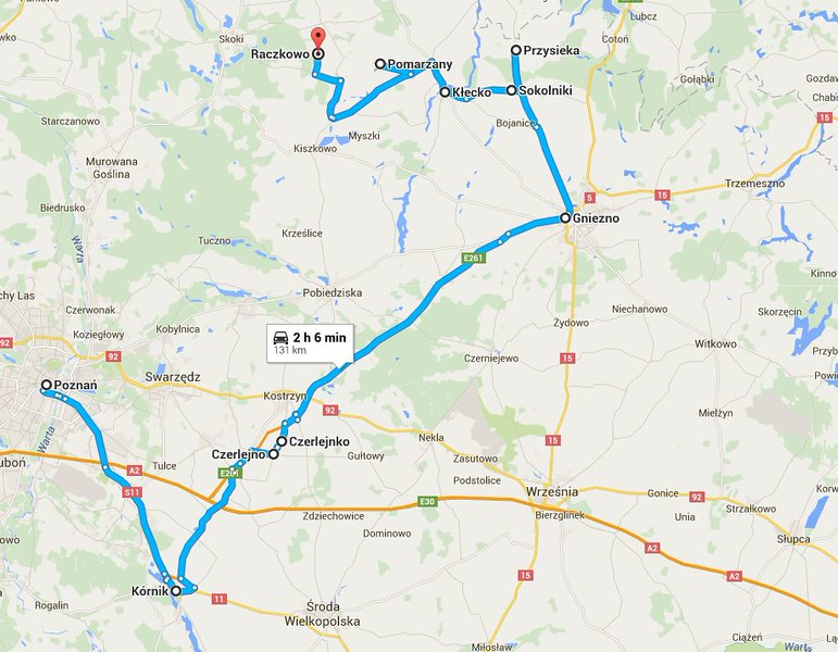 This is the route we took on Sunday,  Oct 11, 2015. Chester Wojtkowski's ancestors were from this area.