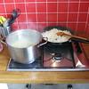 Pierogi class with Anna. Boiling potatoes, frying onions.