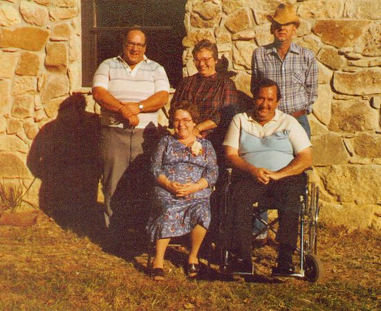 Back row: Glen, Mary, Harlan<br /> Front row: Evelyn and Charles.  <br /> At Evelyn and Chester Sanders' 40th Anniversary, October 1980.