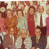 "Front row left to right: Alvin Glen Dew (1920 - ), Burl Orville Dew (1904-2001), Vada Mae (Yarbrough) Dew (1905-1993), Perry Winfield Dew (1891-1975), Dorothy (Data) Dew.  Back row left to right: Viola ""Vickie"" Clara (Radke) Dew, Mary Lavinna Dew (1895-1992), Josie Louisa Dew (1897-1999), Alice Martha Dew (1902-1999), Byron Elmer Dew (1893-1986), Glenna Ellen Dew (1900-1997)   Written in the Rogers Reunion Photo Album Volume III page 21 to the upper right of the photo ""Back: Vickie (Mrs Ed Dew), Mary, Josie, Alice, Elmer & Glenna. Front: Glen Dew, Burl, Vada (Mrs Burl Dew), Perry & Dorothy (Mrs. Perry Dew)"