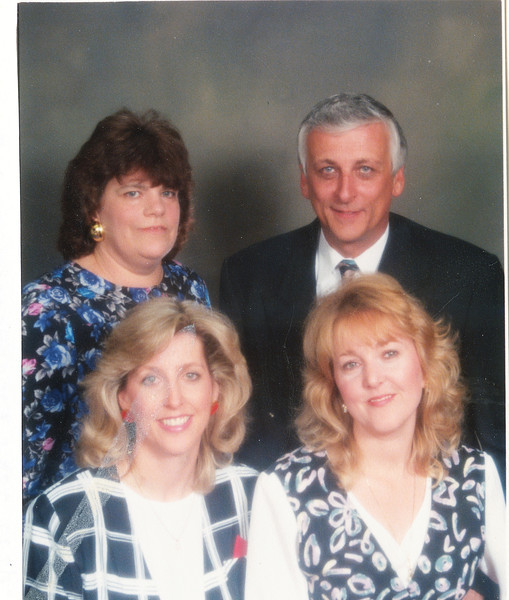 "Front row: Diana Lee Fehrenbach (1961- ), Deborah Lynn Fehrenbach (1961-) Back row: Pattie Lou Fehrenbach (1951-), Edward Joseph Fehrenbach (1947-  )  Written in the Rogers Reunion Photo Album Volume III page 32 ""Pattie & Edward, Diana & Debbie"" On card ""Seasons Greetings 1993""."