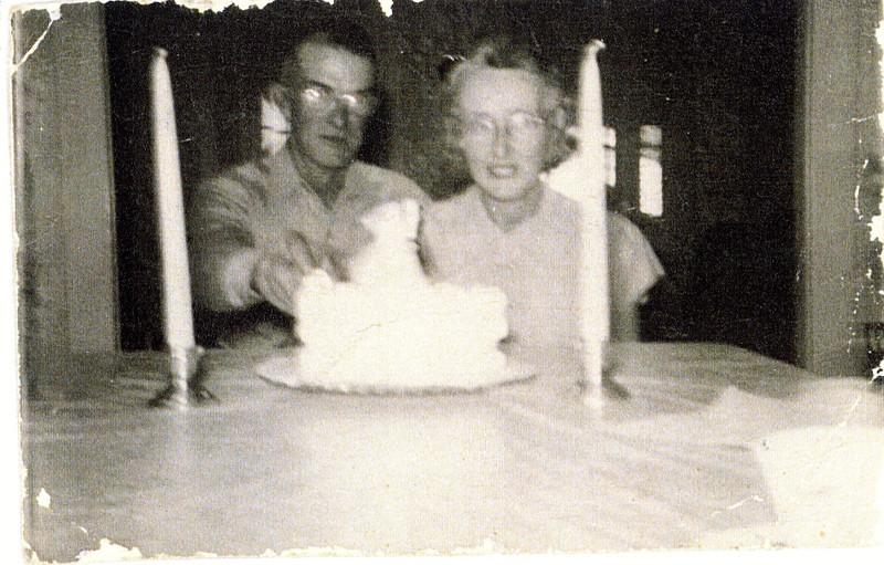 "Joseph Jack Bingaman (1895-1965), Glenna Ellen (Dew) Bingaman (1900-1997) Written in the Rogers Reunion Photo Album Volume III page 76 "" Joe and Glenna 27th wedding anniversary Oct 31, 1950"""
