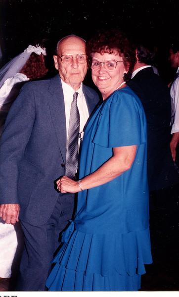 """Burl Orville Dew (1904-2001) and daughter Vivian Maxine Dew (1927-1994)  Written in the Rogers Reunion Photo Album Volume III page 95 """"Burt & Vivian taken Sept 3, 1988 at Dave and Linda Dew's wedding Elk Grove"""""""