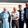 "Left to right: Frank Alexander Yount (1913-2004), Margaret Louise (Dew) Yount (1916-2003), Burl Orville Dew (1904 - 2001), Paul Eugene Frawert (1927- ), Katherine ""Kay"" E. (Seiter) Frawert (1934 - 2009)  Written in the Rogers Reunion Photo Album Volume III page 42 "" Oct 99 at Burl's Birthday Party (95th), Frank & Margaret Yount, Burl Dew, Kay and Paul Frawert"""