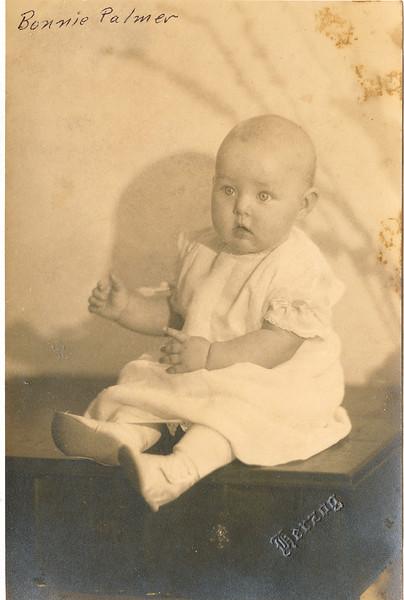 "Bonnie Jean Palmer (1924-2004) Written in the Rogers Reunion Photo Album Volume III page 84 ""Bonnie Palmer born Dec 8, 1924"""