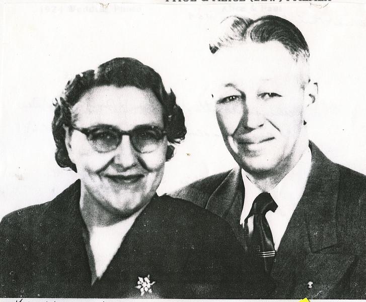 "Alice Martha (Dew) Palmer (1902-1999), Paul Henry Palmer (1898-1967)  Written in the Rogers Reunion Photo Album Volume III page 80 ""Paul & Alice (Dew) Palmer 35h wedding anniversary 1959"""