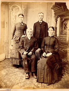 "Minnie Alice Dew (1867-1958) daughter, Edwin Dew (1833 – 1910) father, William Alfred Dew (1869 – 1965) son, Percilla Adeline (Rogers) Dew (1844 – 1923) mother. Written in the Rogers Reunion Photo Album Volume III page 7 under the photo ""Edwin & Percilla Dew and Minnie age 16 – William age 14.  1883."