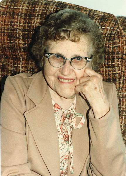 """Josie Louisa (Dew) Brinker (1897-1999) Written in the Rogers Reunion Photo Album Volume III page 66 """"Josie Nov 3, 1981 photo by Evie Gruben"""""""