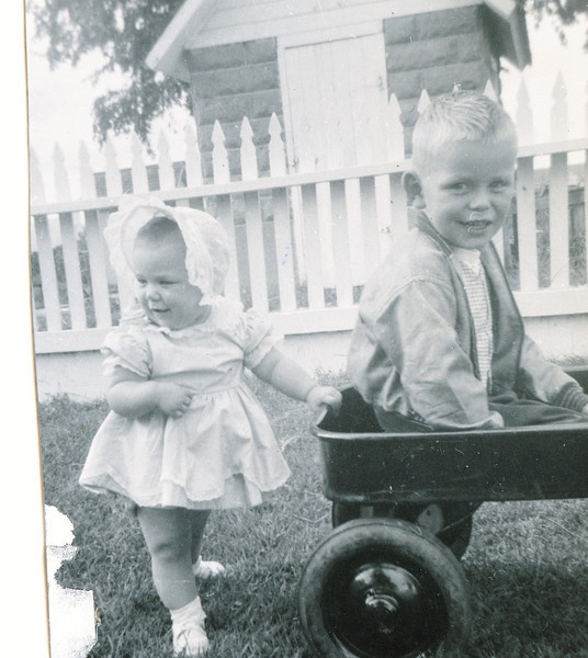 """Pamela Sue Habben (1952-) and brother Steven Gary Habben (1949 -)  Written in the Rogers Reunion Photo Album Volume III page 96 """"Pam, Steve with wagon. Pamela Sue and Steven Gary Habben"""""""