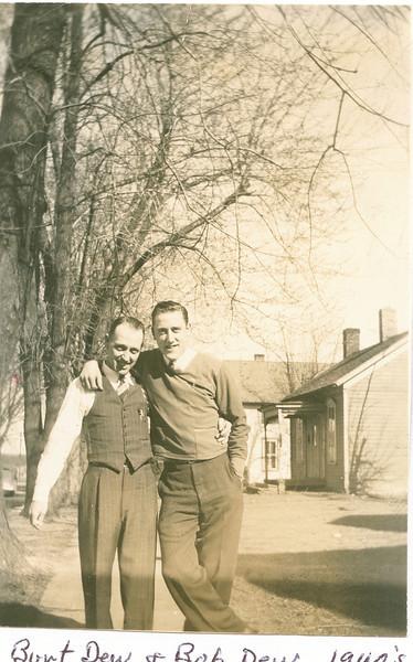 """Burt Dew (unable to document), Robert Eugene Dew (1922-1971)  Written in the Rogers Reunion Photo Album Volume III page 50 """"Burt Dew & Bob Dew 1940's"""""""