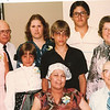 "Front row left to right: Cheryl Ann Yount (1945-1983), Byron Elmer Dew (1893-1986)  Center row left to right: Debra Dee Rader (1967- ), Nyree Dawn Zak (1975- ),  David Charles Rader (1968 - ), Margaret Louise (Dew) Yount (1916-2003), Back row left to right:  Frank Alexander Yount (1913-2004), Carol Sue Yount  (1952-), Justin Kent Zak (1969- )  Written in the Rogers Reunion Photo Album Volume III page 39 ""Elmer with his family at his 90th birthday party Aug 7, 1983  4 generations  Front: Cheryl Rader & Elmer Dew. Center: Debbie Rader, Nyree Zak, David Rader and Margaret Yount.  Back: Frank Yount, Carol Yount, Justin Zak."""