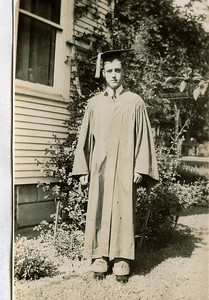 "Alvin Glen Dew (1920-2006)  Written in the Rogers Reunion Photo Album Volume III page 37 ""Alvin Glen Dew in cap and gown 1938"""