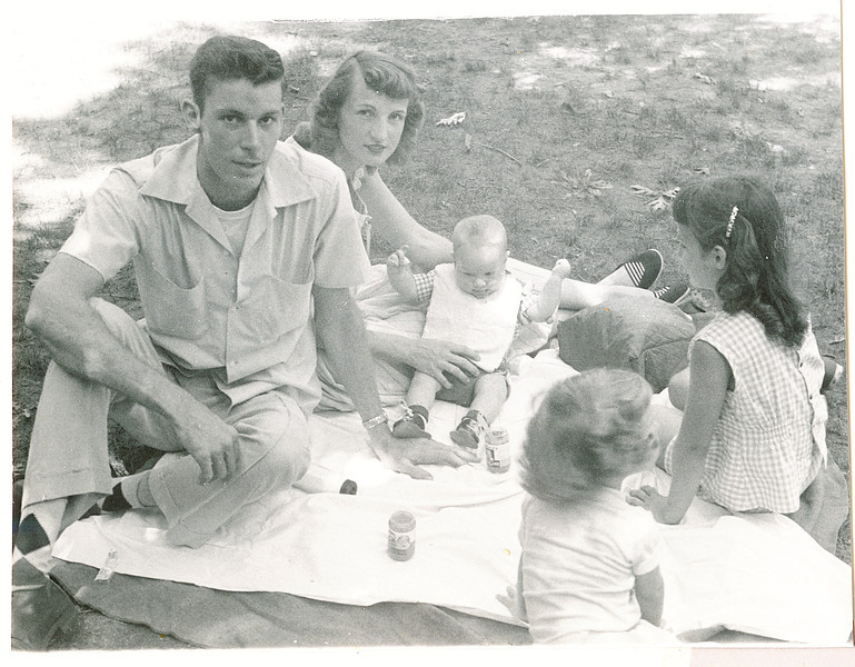"""Benjamin Lewis Griffith (1933-2010), Donna Rogers (Dew) Griffith, Michael Hugh Griffith b 1955, Jeanette Irene Voss b 1948, Larry Alan Griffith b 1958.   Written in the Rogers Reunion Photo Album Volume III page 134 """"Ben, Donna, Mike Griffith (b Dec 31 1959), Jeanie Voss & Larry G. L(photo 1956)"""