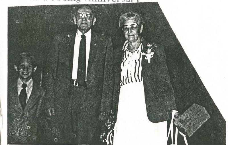 "Erik Brenton White (1978 - ), Elmer H. Harvey (1924-1989), Bonnie Jean (Palmer) Harvey (1924-2004) Written in the Rogers Reunion Photo Album Volume III page 82 ""Eric, Elmer, Bonnie 40th wedding anniversary)"